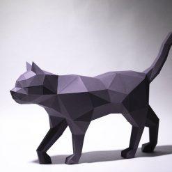 sétáló macska papírszobor
