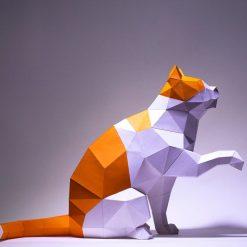 ülő macska papírszobor